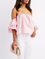 Charlotte Russe Striped Off-The-Shoulder Ruched Sleeve Top