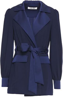 Diane von Furstenberg Belted Two-tone Crepe Jacket