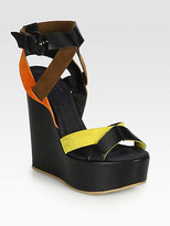 Pollini Leather & Suede Wedge Sandals