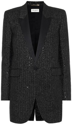 Saint Laurent Sequined tweed blazer