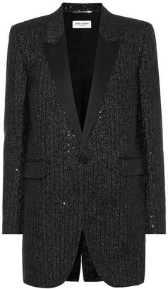 Saint Laurent Sequined tweed blazer