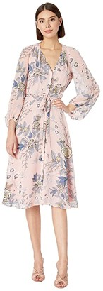 Vince Camuto Printed Chiffon Balloon Sleeve V-Neck Fit and Flare Dress (Blush) Women's Dress