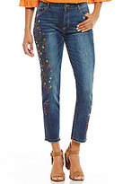 John Mark Embroidered Cropped Jeans