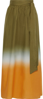 Iris & Ink Bryn Degrade Cotton-broadcloth Maxi Wrap Skirt