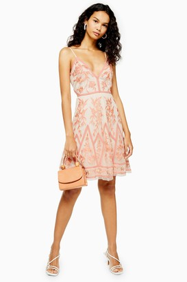 Womens **Embroidered Lace Midi Dress By Lace & Beads - Nude