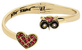 Betsey Johnson Owl & Pave Heart Bypass Hinge Bangle Bracelet