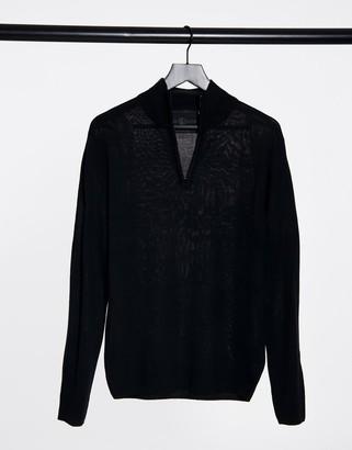 Soul Star Sou Star half zip funnel neck knitted jumper in black