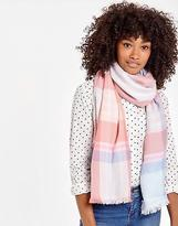 Joules Berkley Soft Handle Oblong Scarf in Pink Check in One Size