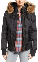 Bebe Women's Faux Leather & Faux Fur Trim Bomber Jacket With Detachable Hood
