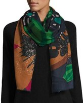Burberry Metallic Floral Cashmere Scarf, Deep Navy
