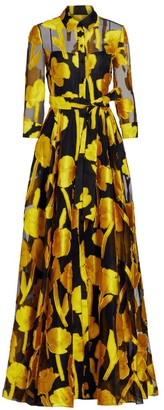 Carolina Herrera Jacquard Silk Floral Trench Gown