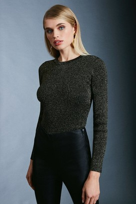 Karen Millen Sparkle Knit Rib Long Sleeve Crew Neck Top