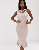 Lipsy sequin detail midi dress with flippy hem in soft pink