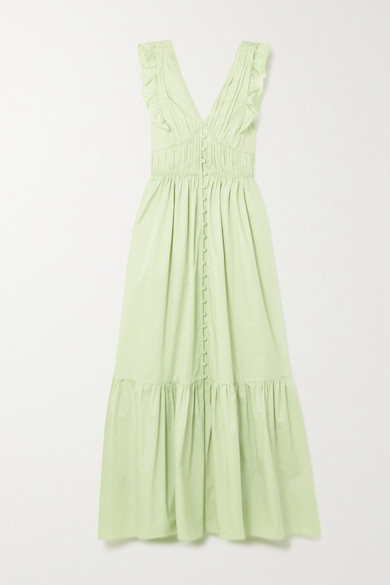 Self-Portrait Tie-back Ruffled Cotton-poplin Maxi Dress - Mint