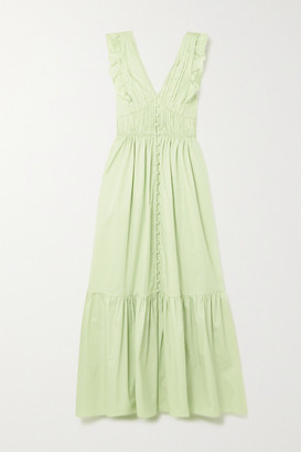 Self-Portrait Tie-back Ruffled Cotton-poplin Maxi Dress - Mint