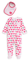 Offspring Hearts Print Footie & Bib Set (Baby Girls)