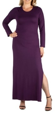 24seven Comfort Apparel Women's Plus Size Side Slit Fitted Maxi Dress