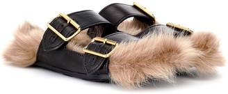 Prada Fur-lined leather sandals