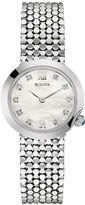 Bulova Womens Diamond-Accent Stainless Steel Mesh Watch 96P163