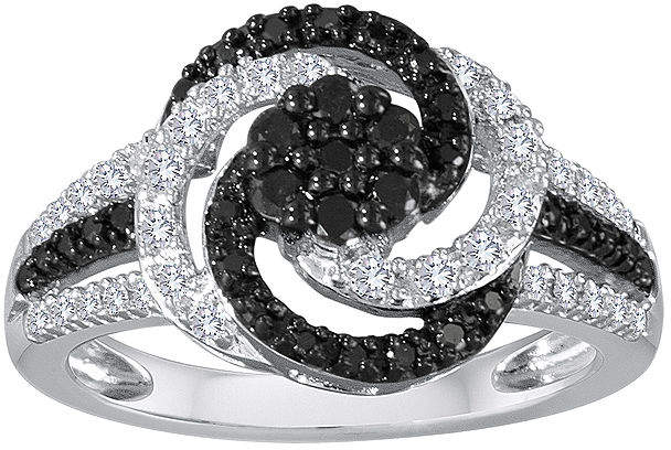 Black Diamond FINE JEWELRY 1/2 CT. T.W. White and Color-Enhanced Sterling Silver Swirl Ring