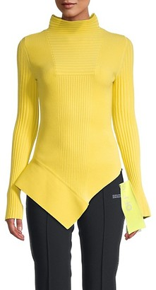 Off-White Asymmetrical Ribbed Sweater