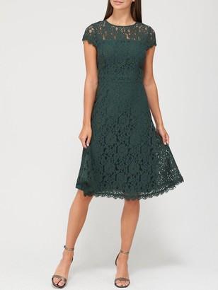 Very Full Skirt Lace Midi Dress - Deep Green