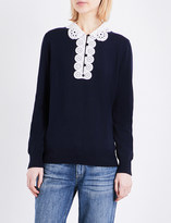 Claudie Pierlot Martine lace-collar knitted jumper