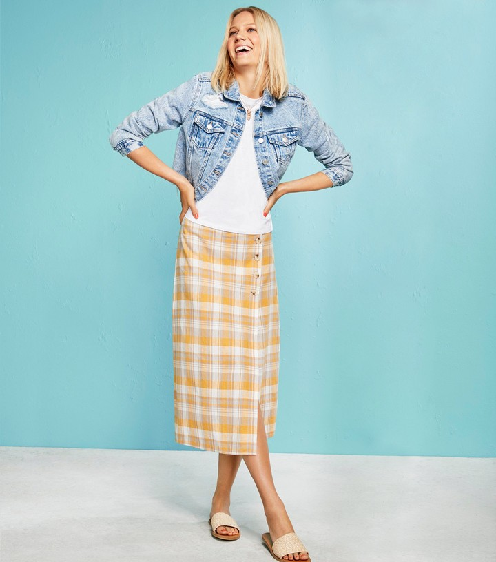 Thumbnail for your product : New Look Check Linen Blend Button Side Midi Skirt