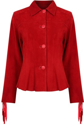 Zut London Hand Beaded & Fringed Suede Leather Fitted Jacket - Red