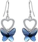 EleQueen 925 Sterling Silver Butterfly Pink Jewelry Adorned with Swarovski® Crystals Hoop Huggie Stud Earrings