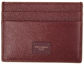 Dolce & Gabbana Burgundy Dauphine Logo Card Holder