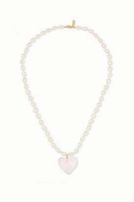 Loren Stewart 14-karat Gold Pearl And Quartz Necklace - White