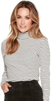 M&Co Striped roll neck top