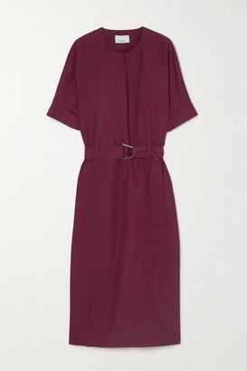 3.1 Phillip Lim Belted Cotton-blend Poplin Midi Dress - Burgundy