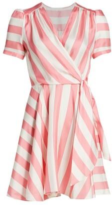Milly Printed Striped Silk Wrap Dress