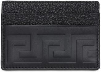 Versace Greca Embossed Leather Card Holder