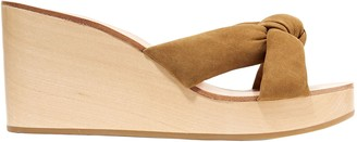 Loeffler Randall Taylor Knotted Suede Wedge Sandals