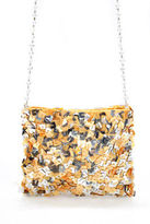 Moyna Orange Silver Satin Sequined Beaded Strap Small Clutch Shoulder Handbag