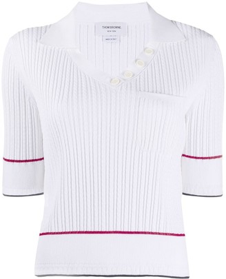 Thom Browne Baby Cable Open polo SS Tee In Viscose Elite