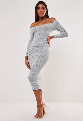 Missguided Cut And Sew Off Shoulder Long Sleeve Midaxi Dress