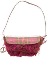 Just Cavalli Embossed Plaid Sueded Shoulder Bag