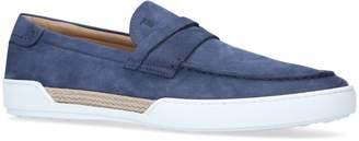Tod's Suede Raffia Penny Loafers