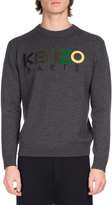Kenzo Wool Mixed-Media Logo Sweater, Dark Gray