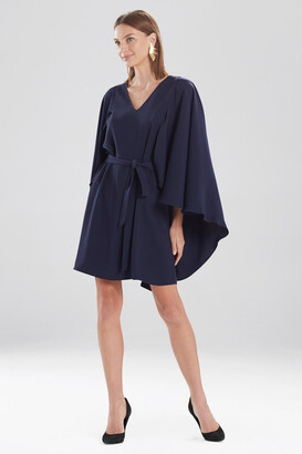 Natori Solid Fluid Crepe Cape Dress