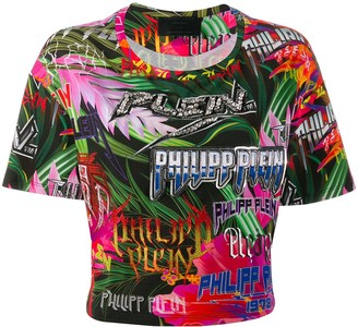 Philipp Plein embellished logo cropped T-shirt