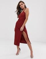 Asos Design DESIGN rib midi dress with button detail