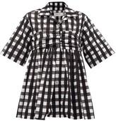 Marques Almeida Marques'almeida - Gingham-check Ruched-panel Cotton Shirt - Womens - Black White