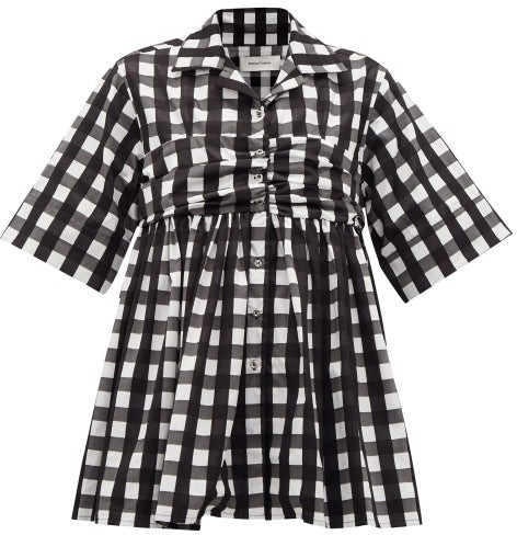 Marques Almeida Gingham-check Ruched-panel Cotton Shirt - Black White