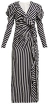 Jonathan Simkhai Ruffled Striped Sandwashed-crepe Midi Dress - Womens - Navy White