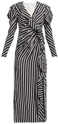 Jonathan Simkhai Ruffled Striped Sandwashed-crepe Midi Dress - Navy White